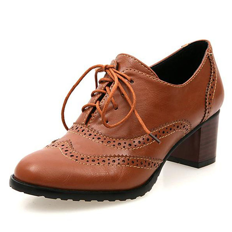 New Plus Size 34 43 Thick Heel High Heels Oxford Shoes For