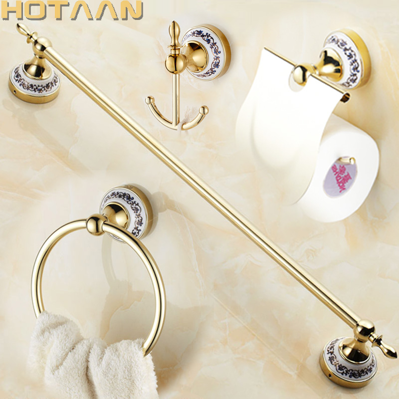 Free shipping Stainless Steel ceramic Bathroom Accessories Paper Holder Towel Bar Towel ring bathroom sets YT