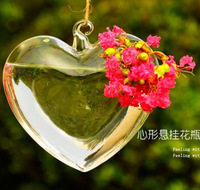 For Love Heart Shape Creative Hydroponic Flower Vase Glass Flower Pot With String Wedding Decoration Home