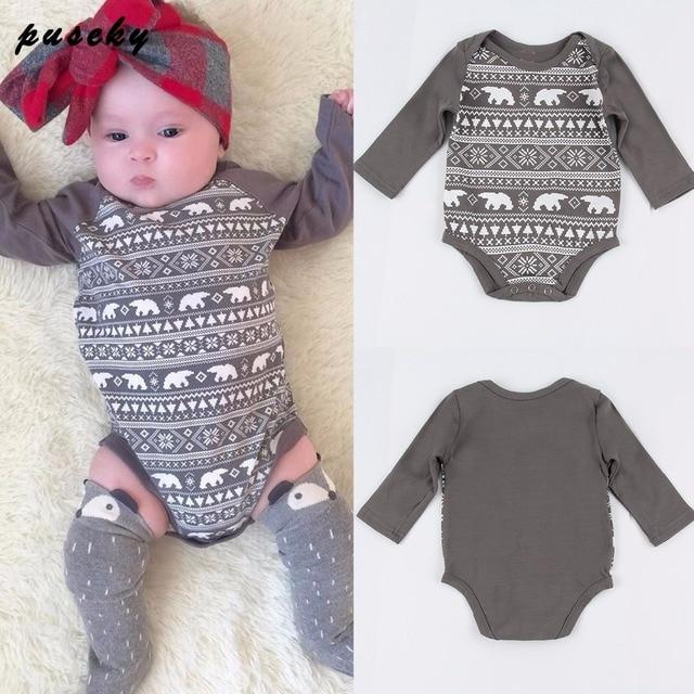 357d72d0d Newborn Kids Baby Boy Girl Rompers Gray Cotton Infant Romper ...