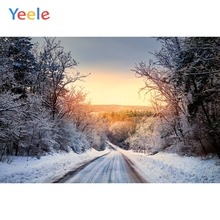 Yeele Winter Landscape Road Snow Room Decor Sunset Photography Backdrops Personalized Photographic Backgrounds For Photo Studio