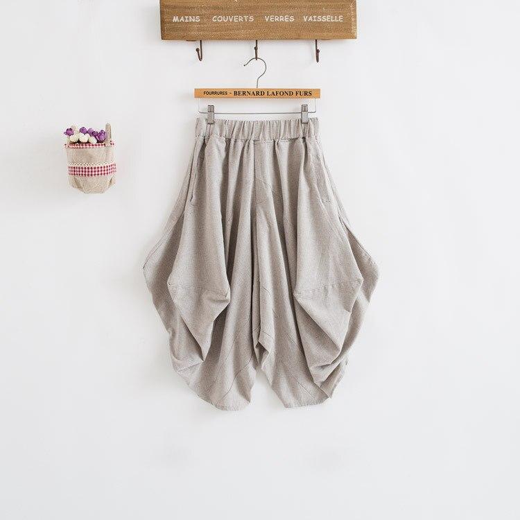 Damen Baumwolle Leinen Lose Haremshose Frauen Kleidung Strench Taille - Damenbekleidung - Foto 4