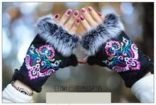 2018 zimowe rękawiczki damskie w stylu etnicznym hafty rękawiczki z futra królika pół palca ciepłe rękawiczki damskie bransoletki damskie