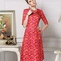 2016 летний топ мода женщины впп дизайн , платья-линии красный геометрический напечатаны цветок аппликации совершенные платья высокое качество
