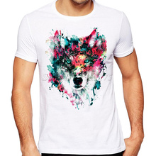 2017 Newest Summer Fashion Colorful Wolf Printed T Shirt  Men's Cool Design High Quality Tops Custom Hipster Tees