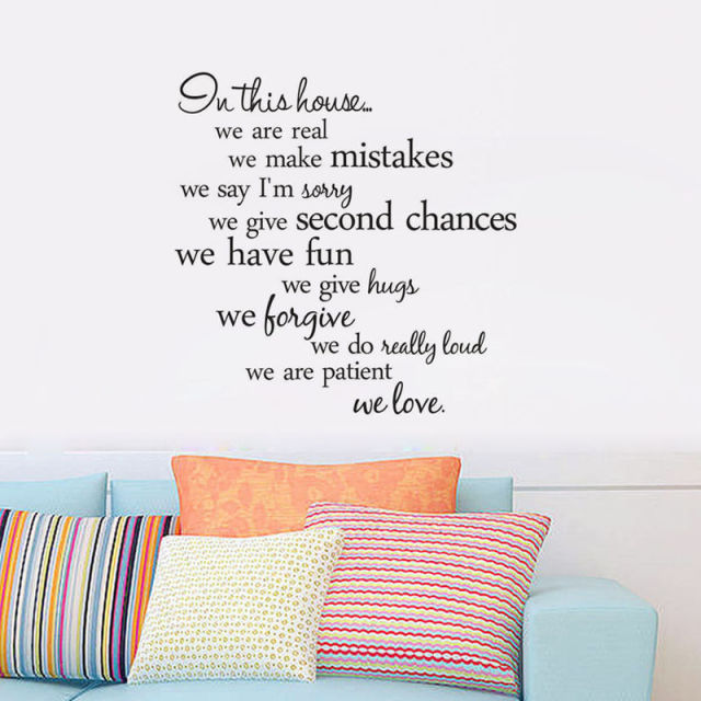 In this house we are real Quote Wall Sticker-Free Shipping Living Room Wall Stickers With Quotes