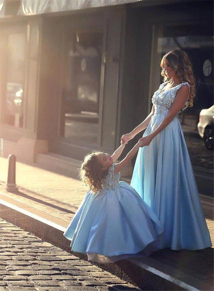 Mãe e filha vestido de festa de casamento do vintage aniversário roupas formais mãe crianças combinando vestidos elegantes olhar família vestidos - 5