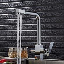 Бесплатная доставка Роскошные фильтр смеситель для кухни с бортике Кухня Раковина кран двойной Ручка фильтра Кухонная Раковина Водопроводный Кран