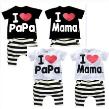 Baby Boys Girls I LOVE PAPA MAMA Clothing Sets Children T Shirt Striped Harn 1/2 Pants Sport Suits Suit Kids Clothes Pajamas Set