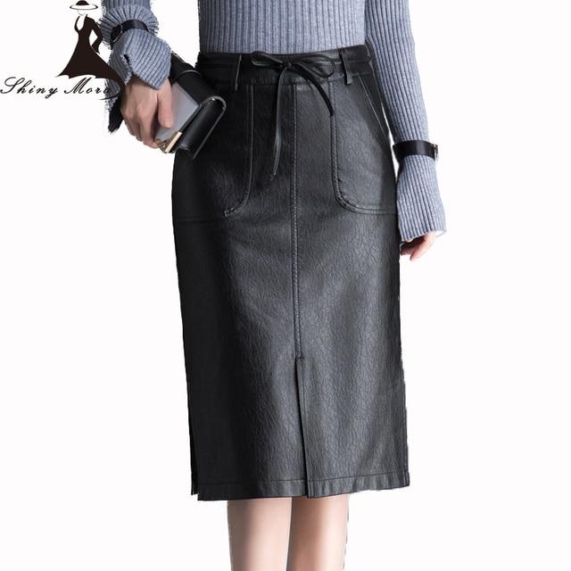 b38c5eef0 € 14.27 38% de DESCUENTO SHINYMORA 2017 de cuero de la PU de mujer faldas  por la rodilla de alta cintura faldas dama Slim cadera falda con bolsillo  ...