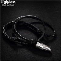 Uglyless Real S 925 Sterling Silver Handmade Engraved Bullet Pendant Necklaces Men Cool Rope Fine Jewelry Fashion Bijoux Vintage