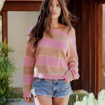 Autumn Winter 2019 New Pink Knitting Striped Pullover Crop Sweater Fashion Round Neck Female Slim Tops Long Sleeves Streetwear цена 2017