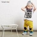 2017 Новая Мода baby boy одежда набор хлопка с коротким рукавом мультфильм футболка + брюки 2 шт. Детские bebe новорожденный ребенок мальчиков одежда набор