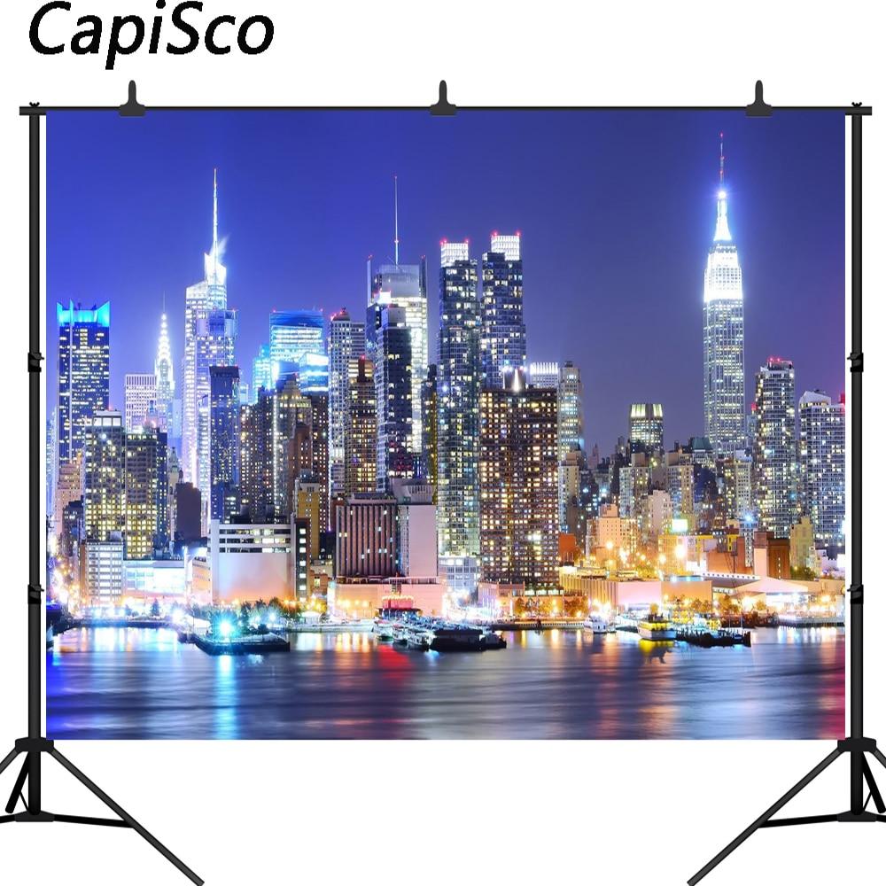 Manhattan To New York City: Capisco New York City Manhattan Night Scene Skyscraper