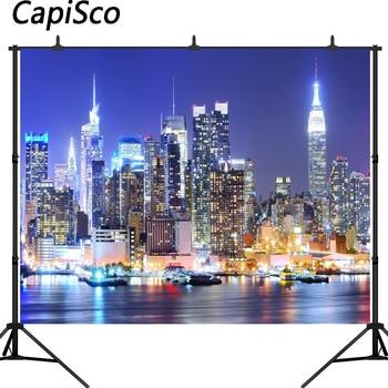 Capisco New York City Manhattan Night Scene Skyscraper Urban Light Photography Backdrop vinyl Photo Background Studio Props 150x220cm london city night view backdrop london bridge photography background outdoor shooting props