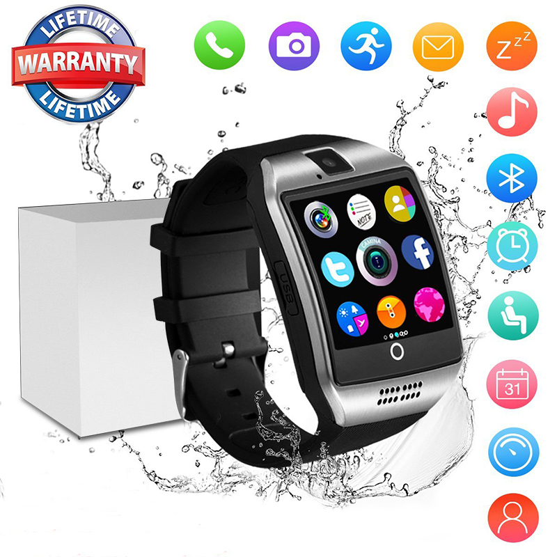 0adc1b8b85a Mulheres Q18 Com Câmera Do Bluetooth Relógio Inteligente Sincronização SMS  Whatsapp Facebook Twitter Smartwatch SIM Apoio