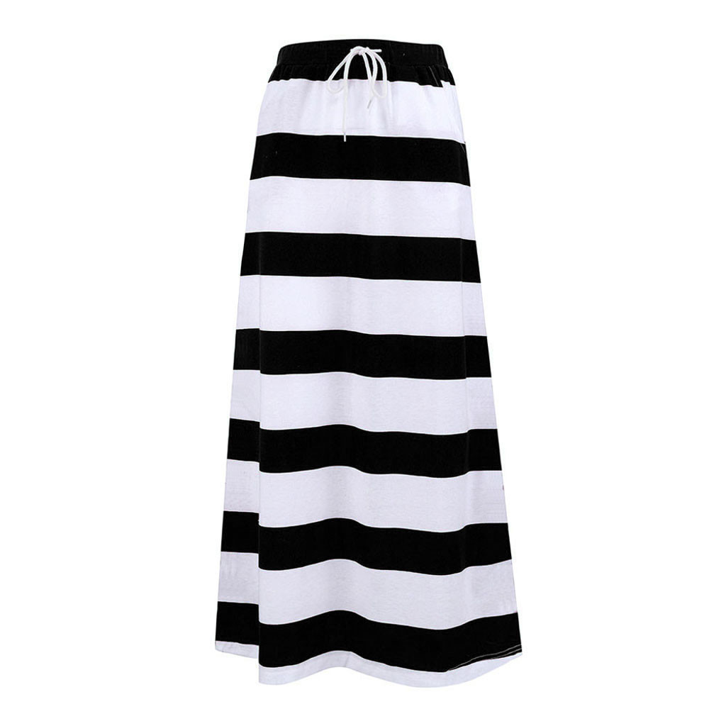 Women's Skirt Skirts faldas jupe femme shein saia harajuku Womens Fashion Stripe Hight Waist Maxi Long Skirt #50
