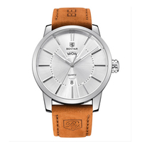BENYAR Leather Strap Double Calendar Fashion Quartz Watch Luxury Brand Men S Watch 30M Waterproof Casual