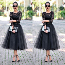 New Fashion A Line Lace O Neck Black Sheer Night Robes Tulle Tea-Size Promenade Formal Social gathering Attire 2016