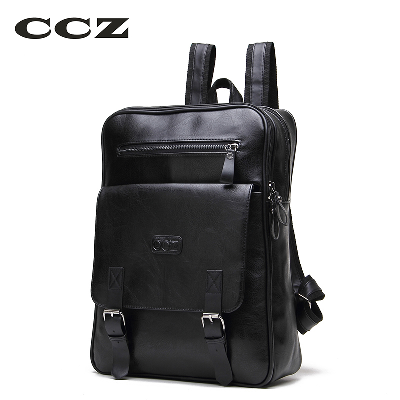 CCZ 2017 New Arrival PU Leather Backpacks For Men and Women Fashion School Bag Male Water Backpack 14 Laptop Backpack BK8003