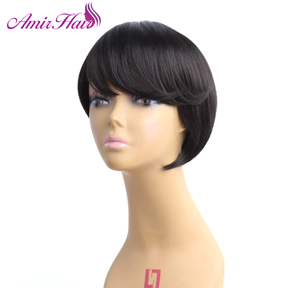 Amir Short Straight Synthetic Hair Side Parting Bob Wigs With Bangs For Black Women black wig Hairstyle Natural Heat Resistant
