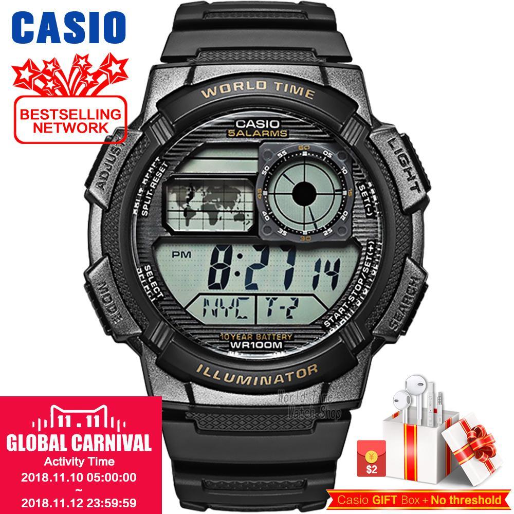 Casio watch Analogue Men's Quartz Sports Watch Resin Strap Student Watch AE-1100 AE-1000 casio ae 1200whd 1a