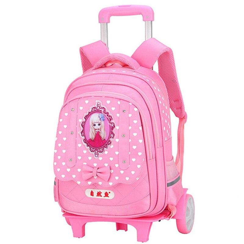 Enfants 2/6 roue Trolley cartable étanche enfant sac à dos princesse design orthopédique sac d'école adolescents fille voyage bagages