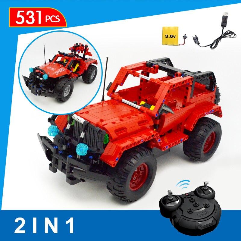 531 pièces 2 en 1 Technic série bloc de construction avec soin RC Jeep Wrangler télécommande Cross Country voiture blocs jouets pour garçons