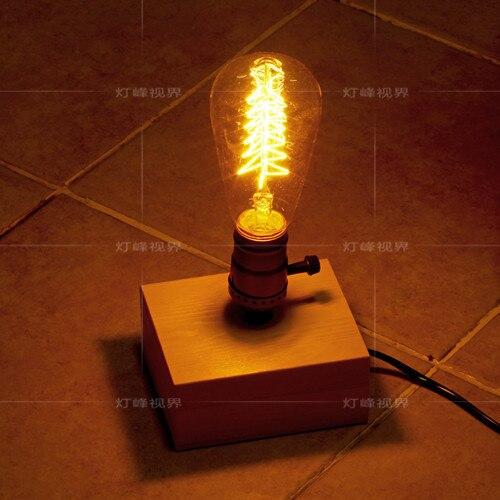 Лофт Эдисон промышленного Винтаж Стиль квадратные деревянные лампы Кофе магазин украшения настольная лампа кафе-бар клуб Спальня
