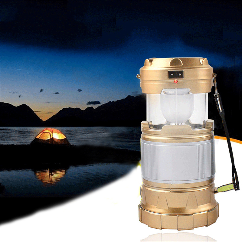 Hand Lamp Portable Led Light Solar Collapsible Camping Lantern Tent Lights Rechargeable Emergency For Outdoor Lighting