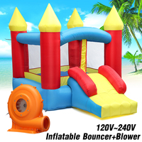 Kids Play Game Inflatable Castle Multi function Inflatable Trampoline with 380W Inflatable Bouncer EU/US Plug
