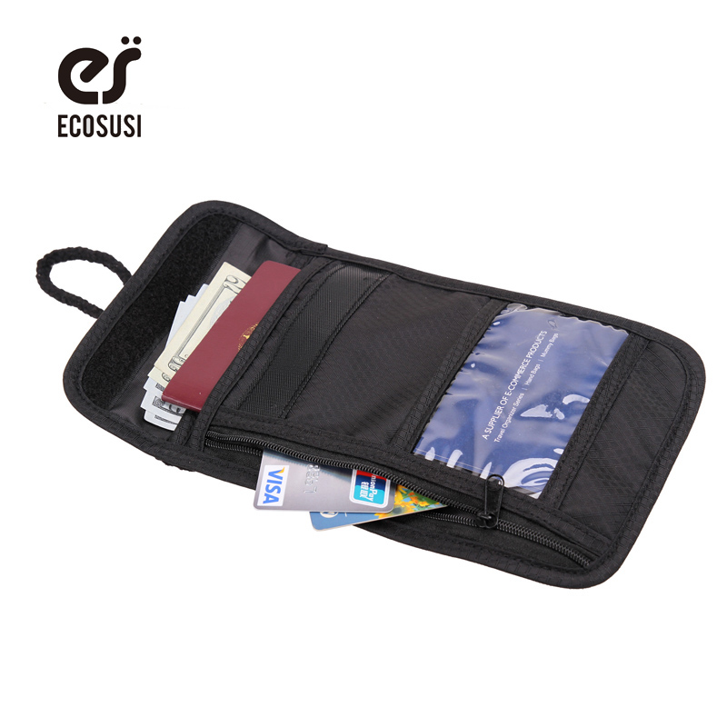 ECOSUSI Security Wallet Storage Bag For Passport Bank Card Bag Coin Holder Purse For Travel Bags Adjustable Sting Wallets бумажник на шею acecamp security neck wallet