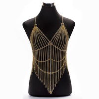 Sexy Body Jewelry Bra Body Chain Summer Beach Bikini Tassel Crystal Multilayered Chain Punk Style Harness Body Jewelry for Women