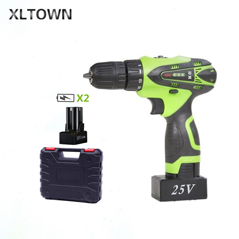 XLTOWN 25V electric drill rechargeable lithium battery multi-function electric screwdriver with 2 battery Household power tools xltown 25v hand drill rechargeable lithium battery multi function electric screwdriver with a box household power tools drill