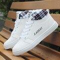 Мужская мода осень и witner тренеры мужской белый classice белый высокие ботинки человека кожи высокого качества pu обувь zapatos hombre