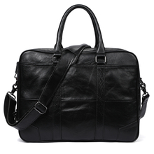 Free shipping men briefcase bag mens genuine leather laptop business tote for document office portable shoulder