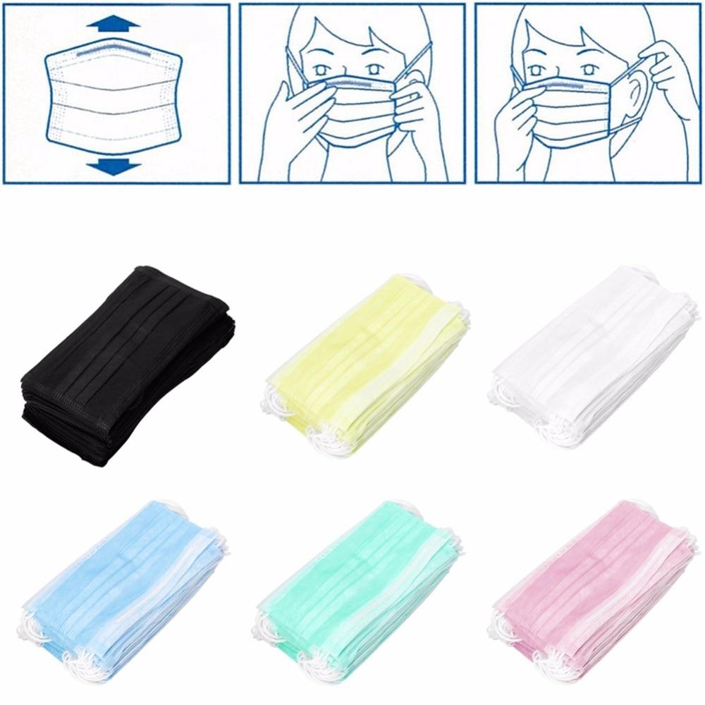 New 3 Ply Earloop 50pcs  Dental Nail Health Disposable Face Mouth MasksMasks