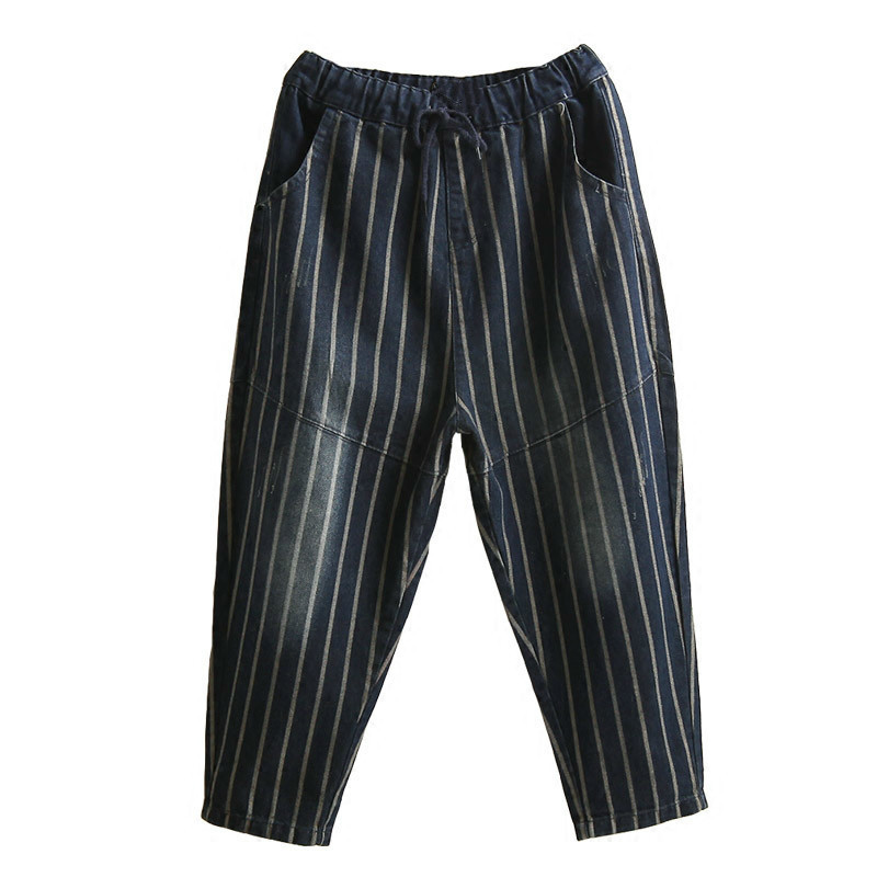 Vintage Elastic Waist Jeans Woman 2019 Spring Autumn Fashion Boyfriend Loose Jeans For Women Striped Denim Pants Female Trousers