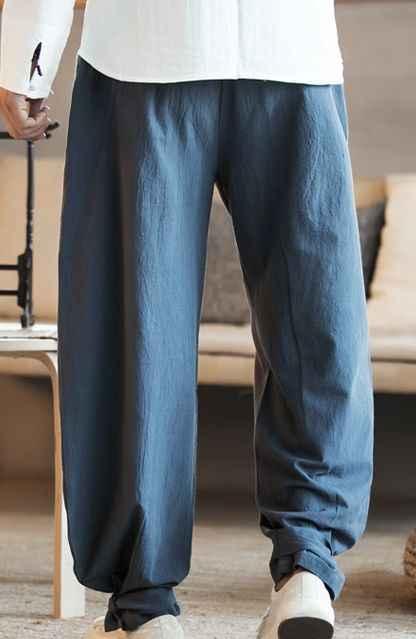綿太極拳武道パンツレイ禅少林寺僧侶のカンフー武術トレーニングズボン唐パンツブルマブルー/ 赤/緑