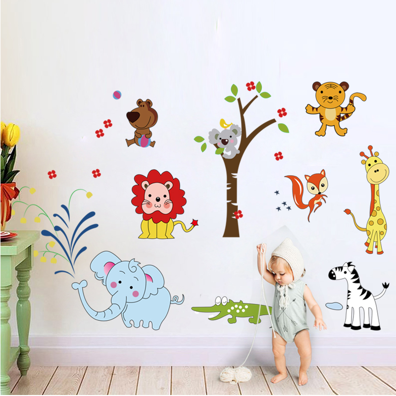 Animal lion elephant wall stickers jungle zoo safari decor for Baby room jungle mural