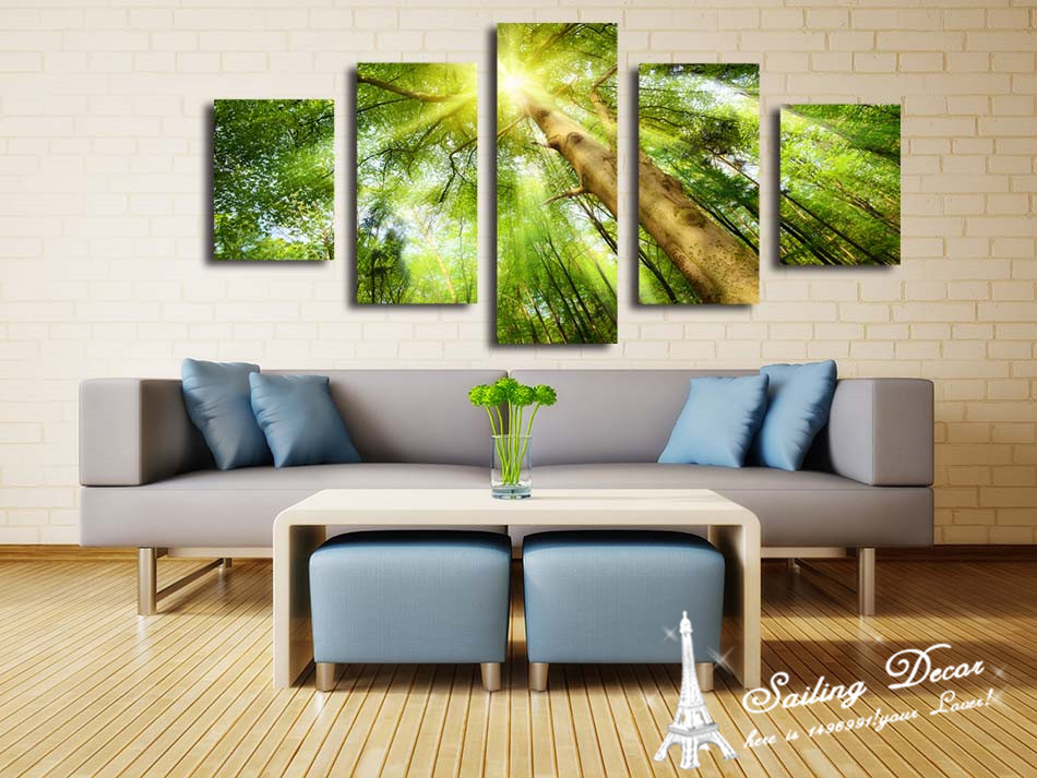Hot Selling Printed Standard Size Canvas Painting Abstract Beauty Tree Shine All The Sky Above