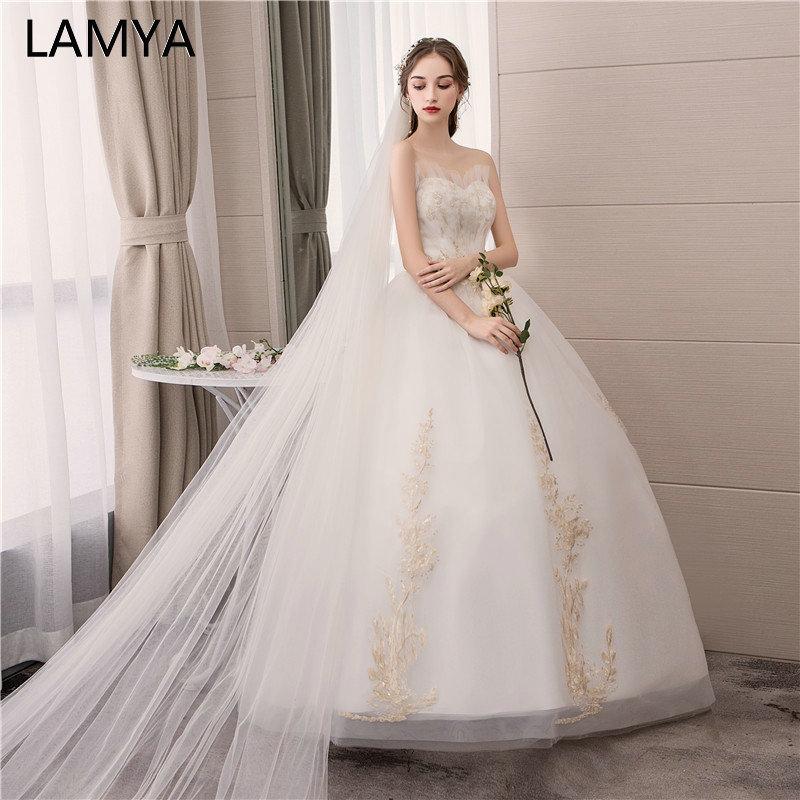 LAMYA Strapless Gold Embroidery Wedding Dresses Plus Size Sweetheart Bridal Gown Custom Made Elegant Pearl vestido de noiva