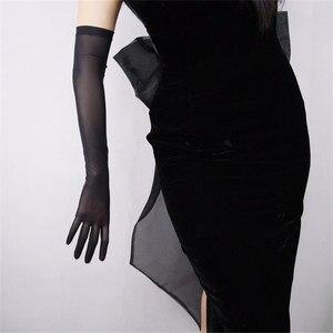 Image 1 - Zwarte Zijde Handschoenen 52 Cm Extra Lange Sectie Hoge Elastische Kant Mesh Garen Zwarte Avond Vestido De Noche Bruid Trouwen touch WWS04