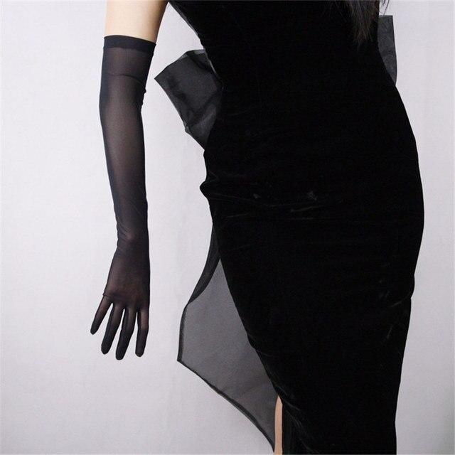 Zwarte Zijde Handschoenen 52 Cm Extra Lange Sectie Hoge Elastische Kant Mesh Garen Zwarte Avond Vestido De Noche Bruid Trouwen touch WWS04