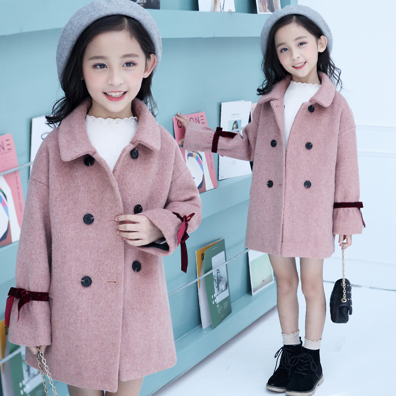 2018 Toddler Girls Autumn Winter Long Fashion Korean Pink Wool Coat Manteau Fille 12 Ans Thicken Wool Coats New Outwear Overcoat недорго, оригинальная цена