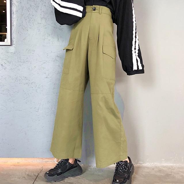 Plus Size Oversized Loose Straight Wide High Waist Ladies OL Office Fashion Cargo Full Pant Korean Trouser Streetwear Tracksuit