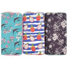 KANDRA Swallow and Flower Pattern Long Wallet for Women Zipper Phone Bag Clutch Card Slots Coin Purse Female Wallets