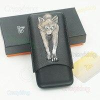 Lubinski צבע בולט עור שחור זאב 3 צינור סיגר COHIBA נסיעות מקרה מתאים