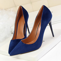 2018 Elegant Women 10cm High Heels Velvet Flock Sexy Stiletto Royal Blue Pumps Female Escarpins Heels Burgundy Pink Tan Shoes