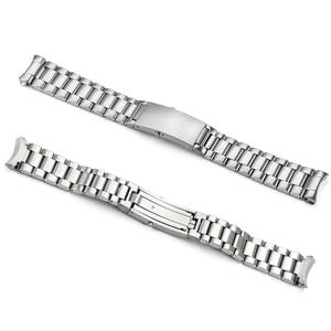 Image 2 - IStarp 20mm Uhr Strap Solide Edelstahl Silber Uhr band für Omega Seamaster Planeten Ozean Stahl Armband 1589/858